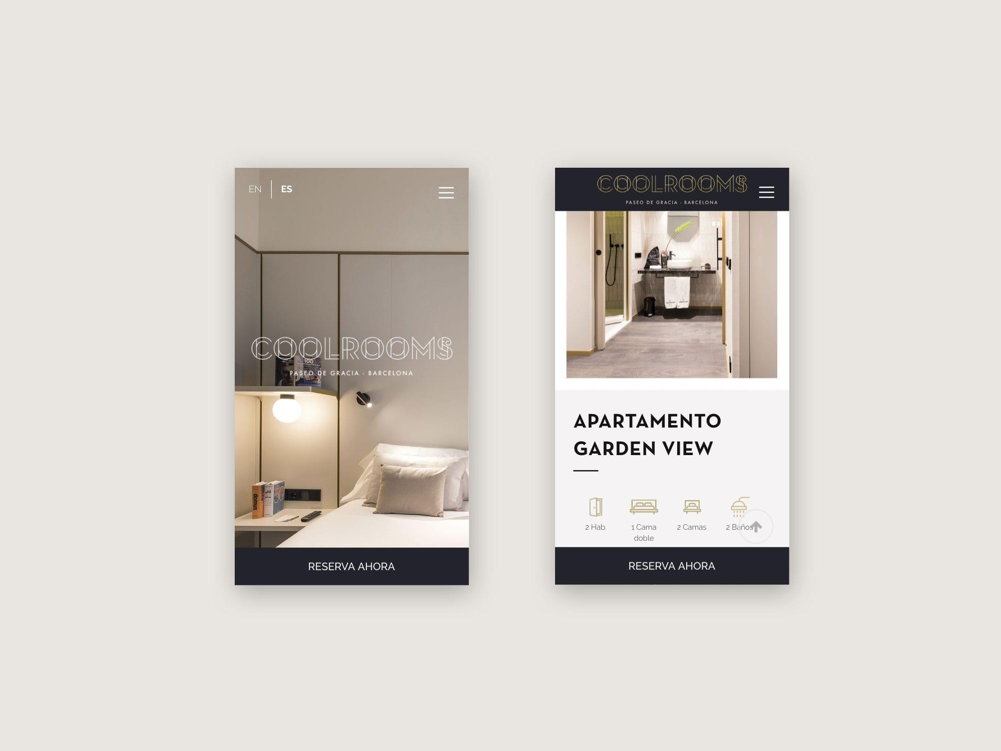Diseño web mobile Coolrooms Paseo de Gracia