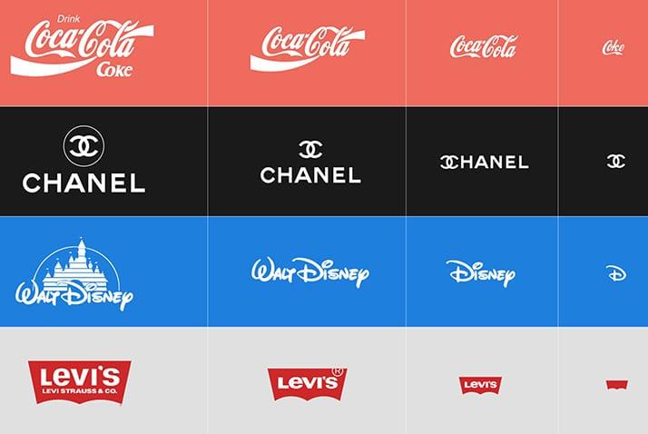responsive logos logotipos coca cola chanel walt disney levi's